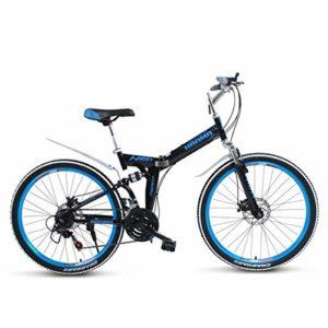 WJSW Vélo pour vélo de Montagne pour Enfant, Cadre en Acier léger sur Roue, Roue en Acier, 21 Vitesses, Frein à Disque, Noir, 26″