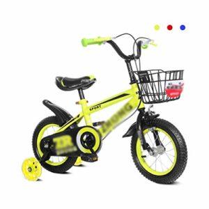 WJSW Vélos de Vélos 2-10 Ans vélo 80-108cm de Hauteur élèves Landau Silencieux Flash Round (Couleur: Jaune, Taille: 14 Pouces)