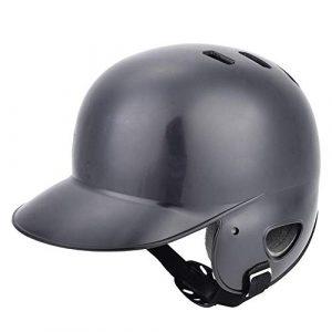 Xinwoer Trou d'air au Casque de frappeur supérieur, équipement de Protection de Casque de frappeur de Baseball Sport avec Sangle pour Adolescent Adulte(Noir)