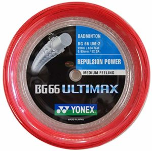 YONEX BG 66 ULTIMAX BLANC BADMINTON CORDAGE 200M, Color- Red