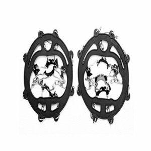 YUK Chaussures antidérapantes pour Escalade en Plein air avec 8 Dents de pêche sur Glace, Raquettes à Neige en Acier manganèse, 8 Dents Noires.