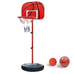 YunNasi Panier de basket stable et réglable en hauteur Avec ballon & pompe Convient pour enfants et adolescents, 170 cm