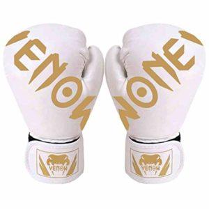 YYW Gants de Boxe pour MMA, Muay Thai, Sparring, Kickboxing, Combat, Peau de Peau pour Adultes, Adolescents, Blanc, Enfants