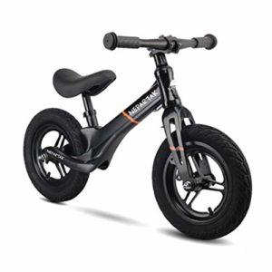 YZY Vélo sans Pédales 12 Pouces pour Les Tout-Petits et Les Enfants, vélo de Marche sans pédale, Guidon et siège réglables (Color : Black)