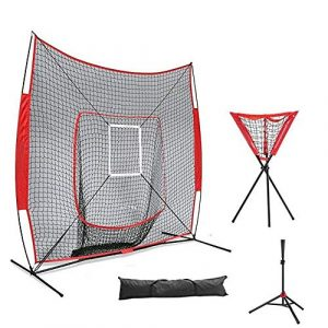 Zengqhui Entraîneur De Swing De Baseball Baseball Batting Frapper Entraîneur Set 7×7 Pratique Softball Net avec Strike Zone trépied Balle Caddy (Couleur : Red, Size : 4pcs)