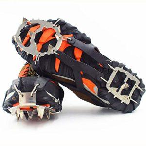 ZXCAM Crampons 18 Dents Griffes Chaussures Antidérapantes Couvercle avec Chaîne en Acier Inoxydable pour Alpinisme Marche Randonnée Jogging Escalade sur Neige et Glace