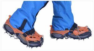 ZXCAM Crampons avec19 Dents,Véritables Pointes en Acier Inoxydable,Anti-Slip Chaussures pour Alpinisme Marche Randonnée Jogging Escalade sur Neige Glace