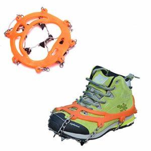 ZXCAM Crampons de Glace 8 Dents Griffes Crampons de Traction réglable Anti-dérapant Couvre-Chaussures Griffe de Glace pour Sports d'hiver