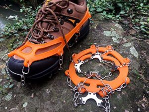 ZXCAM Griffes Crampons Chaussures Antidérapantes Couvercle avec Chaîne Acier Inoxydable pour la Marche sur la Glace pour la Neige, la Glace, Les Randonnées, la Chasse et la Marche en Hiver