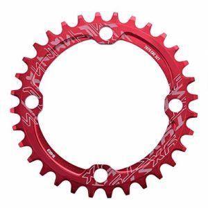 Alomejor 32/34/36/38T Plateau de Pédalier BCD 104 Anneau de Chaîne de Manivelle Vélo VTT Pièces de Réparation en Acier pour Le Cyclisme en Plein air(32T-Red)