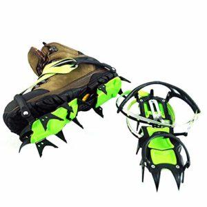 BINGZ Crampons pour Chaussures, Crampons Antidérapants avec 14 Pics en Acier Inoxydable pour La Marche, Le Jogging, l'escalade, La Randonnée,Green