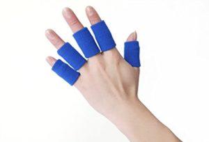 Bllomsem 10 protège-Doigt élastiques, Protection de Doigts avec arthrose Aide au Sport Bleu