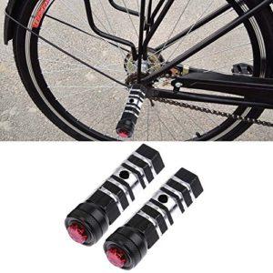 Broadroot lumière LED à pédale pour vélo avant essieu arrière Pied de VTT chevilles Repose-pieds, noir