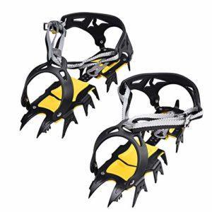 Crampons,Crampon Avec18 Dents,Anti-Slip Crampons De Glace Crampons De Neige pour Randonnée Trekking Marche Ou Activités sur Terrain.