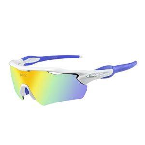 Duco Lunettes de Soleil polarisées Lunettes pour Sport, Cyclisme avec 5 Verres interchangeables 0028 (Blanc)