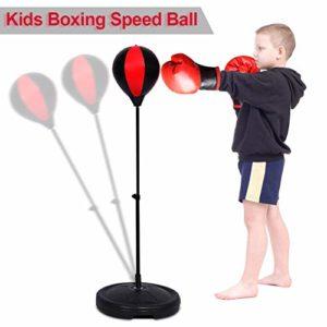Ejoyous Enfants Punching Ball, Support de Balle de Poinçon Réglable en Hauteur 70-105CM, Ensemble de Boxe pour Ballon de Vitesse avec des Gants et Une Pompe pour aux Garçons et aux Filles