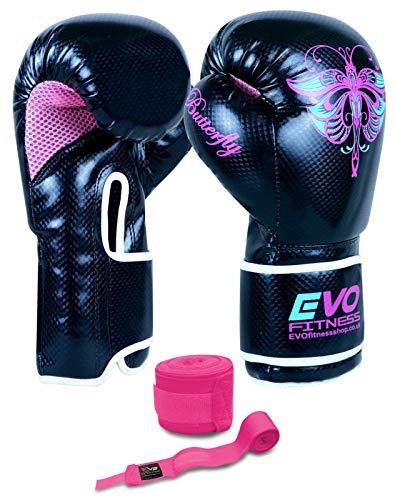 Evo Fitness Femmes GEL Rex Cuir Gants De Boxe Sac De Frappe MMA Muay Thai Arts Martiaux Kick Boxing – 12 Oz