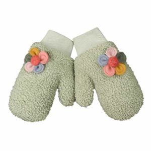 Gants d'hiver pour Femmes Moufle Hiver Fille Garçon Moufle Epais Enfant Gant Tricoté avec Ficelle Gant Chaud Moufle Mignon en Motif de Cartoon pour Enfants