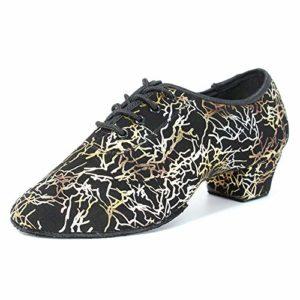 HIPPOSEUS Chaussures de Danse Latine pour Femmes à Bouts fermés, Chaussures de Performance de Formation de Danse Moderne Jazz, modèle NJB701,Couleur Or,EU 37