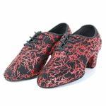 HIPPOSEUS Chaussures de Danse Latine pour Femmes à Bouts fermés, Chaussures de Performance de Formation de Danse Moderne Jazz, modèle NJB701,Couleur Rouge,EU 37