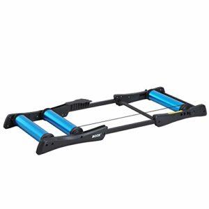 Home Trainer Rouleaux dim. 145L x 56l x 10,5H cm Taille réglable pédale antidérapante Aluminium Noir Bleu