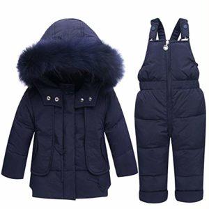 Homme/Femme Enfant 1~3 Ans Set Down Jacket Épaissir Collier Big Fur Canard Blanc Qui Peut être Ouvert Set Sangle Down Jacket,02,80cm