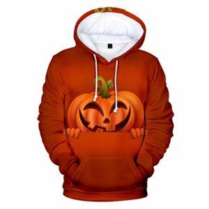 Impression 3D Hoodies Mens Casual Effrayant Halloween Citrouille 3D Print Party Manches Longues À Capuche Manteau Daim Veste