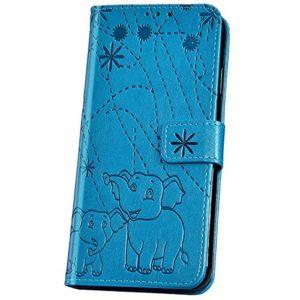 JBGM Coque Samsung Galaxy J7 2018 Pochette,Galaxy J7 2018 Étui Portefeuille en Cuir,Mode éléphant Fleur Motif Coque a Rabat Cuir PU Magnétique Porte Carte Housse de Protection Strand Flip Case,Bleu