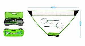 JT2D Badminton Set Complet avec Filet, Raquettes, Volants et Etui de Rangement 295 x 38 x 154 cm