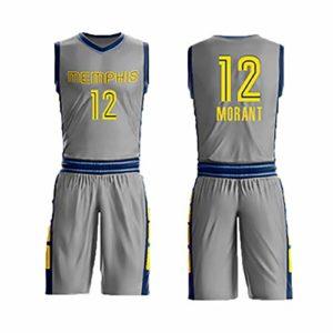 LHWQAN Vêtements de Basket-Ball pour Enfants Respirants d'été en Plein air Ja Morant # 12Memphis Grizzlies Rookie City Edition Vêtements de Basket-Ball à séchage Rapide et Confortables-Grey-XL
