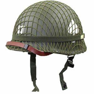 LIUJIE US Soldier M1 Helmet Net Cover Heavy Duty Green Reproduction Tactical Helmet Webbing Cover/Canvas Chin Strap