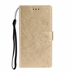 Lomogo Coque Xiaomi Mi Note 10/Note10 Pro Portefeuille, Housse en Cuir avec Porte Carte Fermeture par Rabat Aimanté Antichoc Étui Case pour Xiaomi Note 10 Pro – LOXCH030509 Or