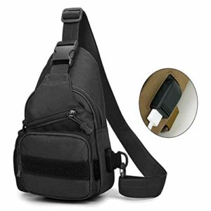 LRKZ Tactical Chest Bouilloire Bag, Military Outdoors Leisure Waterproof Leisure Crossbody Shoulder Sling Pack Backpack with Water Bottle Holder,Noir
