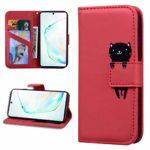 Miagon Animal Flip Coque pour Xiaomi Redmi 7A,Portefeuille PU Cuir TPU Cover Désign Étui Folio à Rabat Magnétique Stand Wallet Case,Rouge