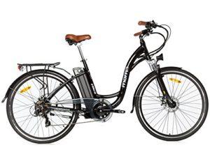 Moma Bikes Vélo Electrique VAE De ville, E-28″, Aluminium, SHIMANO 7V, Freins a Disque Bat. Ion Lithium 36V 16Ah