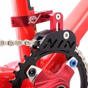 Nakw88 Guide de chaîne de vélo pour vélo de route, vélo de montagne, guide tendeur avec motif creux pour pignon à disque unique, cadran avant et conduite en douceur, Pas de zéro, Rouge, Taille unique