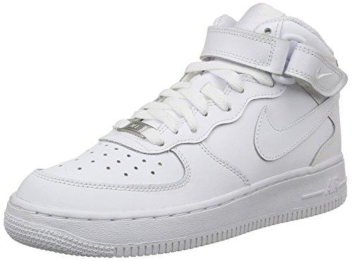 Nike Air Force 1 Mid (Gs), Chaussures de basketball mixte enfant, Blanc, 39 EU