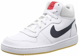 Nike Court Borough Mid (GS), Chaussures de Basketball garçon, Blanc (White/Obsidian/Univ Red/Gum Lt Brown 107), 37 1/2 EU