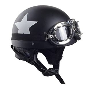 NNBB Oculaire de Distribution de Voiture électrique Casque Couple Harley Prince Hommes de Moto Casque et Les Femmes adapté (54-62cm),Noir