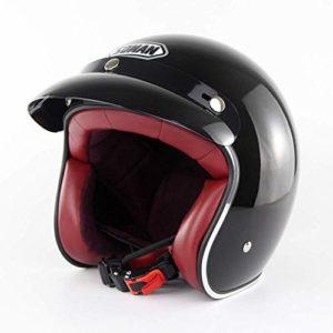 NNBB Rétro Casque de personnalité de Moto Harley Hommes de Voitures électriques et Les Femmes Quatre Saisons Demi-Casque Casque Certification Dot,Bright Black,XXL