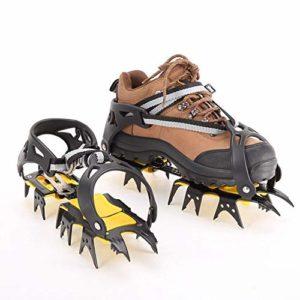 NON-SLIP Crampons avec 18 Dents,Véritables Pointes en Acier Inoxydable, Crampons De Glace Crampons De Neige pour Randonnée Marche Ou Activités sur Terrain.
