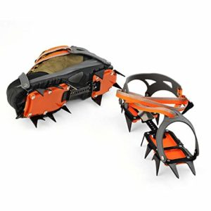 NON-SLIP Crampons,Crampon Antidérapent,Crampons Universelles,10 Dents, Acier Glace Grips, Anti-dérapant Neige Et Glace Traction Crampons Chaussure,Orange