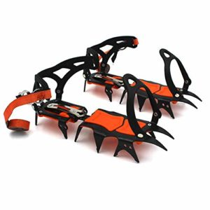 NON-SLIP Crampons,Crampons Pointes,Crampons avec 14 Dents en Acier Inoxydable, pour L'Alpinisme Randonnée Glaciaire Cascade De Glace,Orange