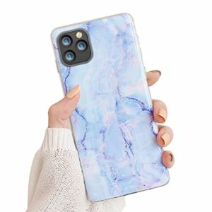 Oihxse Compatible pour iPhone 11 Pro 2019 5.8 Coque Marbre Motif Stitching Crystal Ultra-Mince Protection Housse en Silicone TPU Souple Flexible Bumper Anti Choc Etui Case (Bleu)