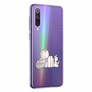 Oihxse Compatible pour Xiaomi Mi 9 Coque [Mignon Transparente Éléphant Lapin Motif Séries] Housse TPU Souple Protection Étui Ultra Mince Anti Choc Animal Case (A5)