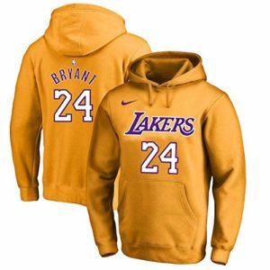 OUTWEAR Basket-Ball Fan Sweats à Capuche Pull avec Capuche Kobe Bryant # 24 Los Angeles Lakers Sweat-Shirt Pull Spring Casual Jumper T-Shirt Tops avec Poche – Cadeaux Ados Yellow B-XXXL