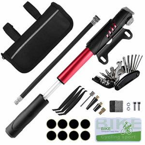 Oziral Kit d'outils pour Vélo Outil de Réparation Sacoches avec Mini Pompe 120 PSI, Outils Multifonction, Pièce Crowbar pour Plein Air Camping