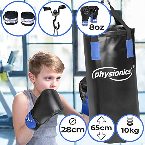 Physionics Sac de Frappe pour Enfant – Ø28cm, H65cm, 10 kg, Rempli, Gants de Boxe 8 oz, Fixation Plafond, Mousqueton et Bandes de Protection – Set de Boxe Enfant, MMA, Kickboxing, Arts Martiaux