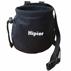 Sac à magnésie pour l'escalade de Gymnastique haltérophile Sac de Craie avec Poche arrière zippée et Ceinture Ajustable (Noir)