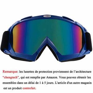 Sijueam Lunettes de Protection de Yeux Visage Masque Anti-UV Coupe-Vent Anti-poussière pour Activités Extérieures vélo Moto Cross VTT Ski Cyclisme Goggles – Cadre Bleu, lentille de Couleur